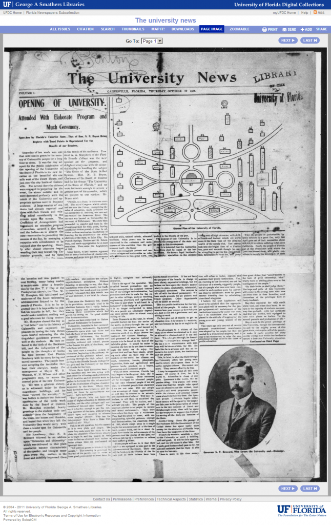 University News, newspaper in SobekCM and the Florida Digital Newspaper Library