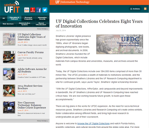 UFDC in Update UFIT, story on Research Computing and the Libraries