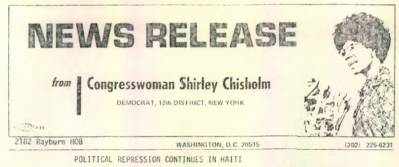 Shirely Chisholm, News Release, from Barry University